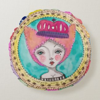Colourful Quirky Art Illustration Girl Queen Round Cushion