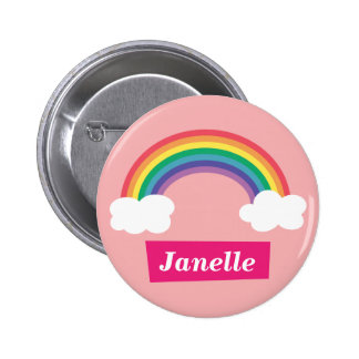 Colourful Rainbow and clouds, for Little Girls 6 Cm Round Badge