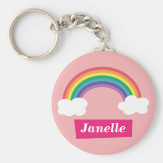 Colourful Rainbow and clouds, for Little Girls Basic Round Button Key Ring
