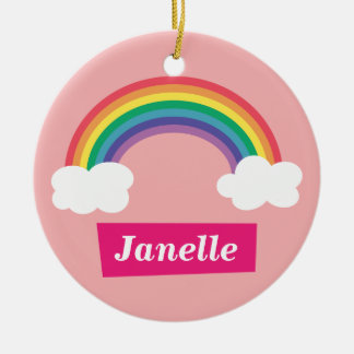 Colourful Rainbow and clouds, for Little Girls Christmas Ornament