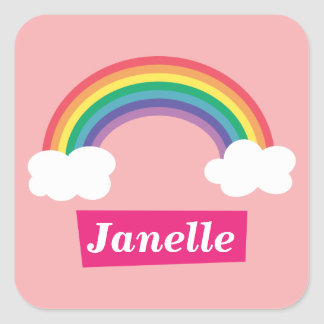 Colourful Rainbow and clouds, for Little Girls Square Sticker