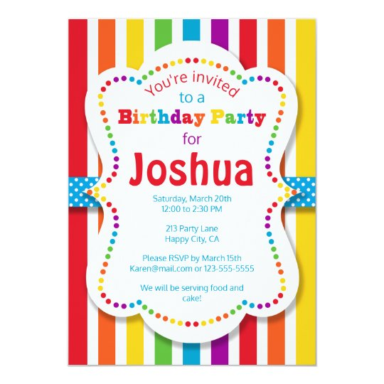 Colourful Rainbow Birthday Party Invitation