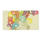colourful rainbow colour retro swirls design