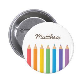 Colourful Rainbow Colouring Pencils School Kids 6 Cm Round Badge