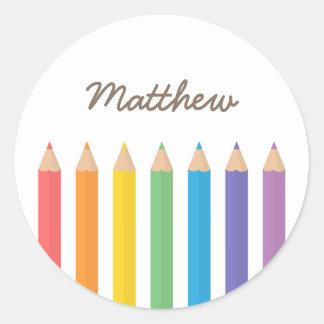 Colourful Rainbow Colouring Pencils School Kids Classic Round Sticker
