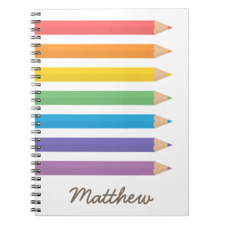 Colourful Rainbow Colouring Pencils School Kids Notebook