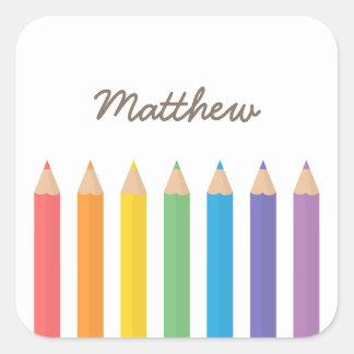 Colourful Rainbow Colouring Pencils School Kids Square Sticker