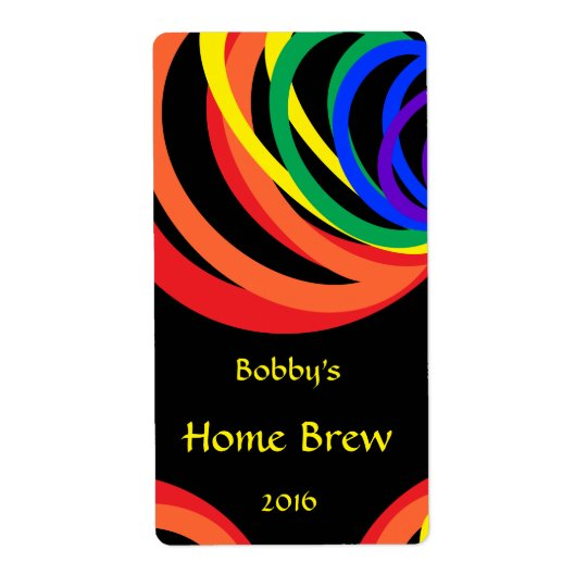 Colourful Rainbow Crescent Beer Label Shipping Label