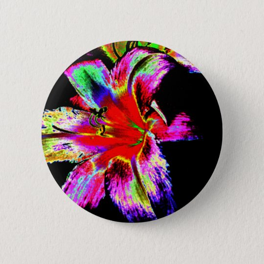 Colourful Rainbow Daylily 6 Cm Round Badge
