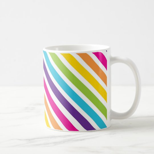 Colourful Rainbow Diagonal Stripes Gifts for Teens Coffee Mug