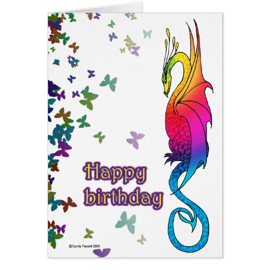 Colourful Rainbow Dragon Birthday card