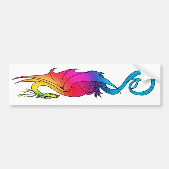Colourful Rainbow Dragon long Sticker