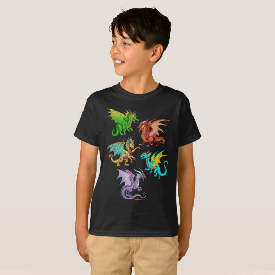 Colourful Rainbow Dragons School T-Shirt