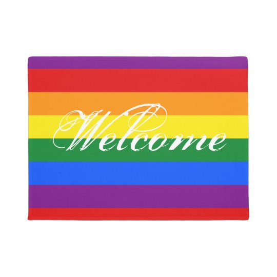 Colourful rainbow flag door mat with welcome text