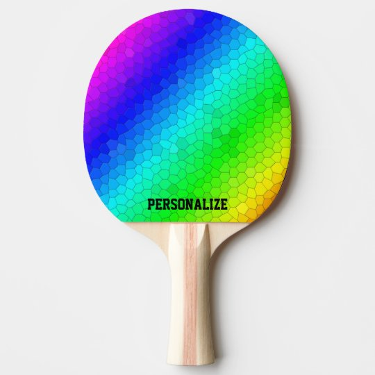 Colourful rainbow mosaic ping pong paddle with