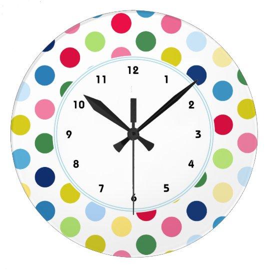 Colourful Rainbow polka dot wall clock