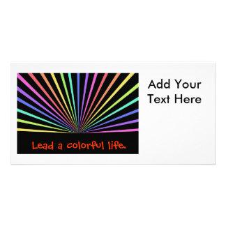 Colourful Rainbow Rays on Black Custom Photo Card