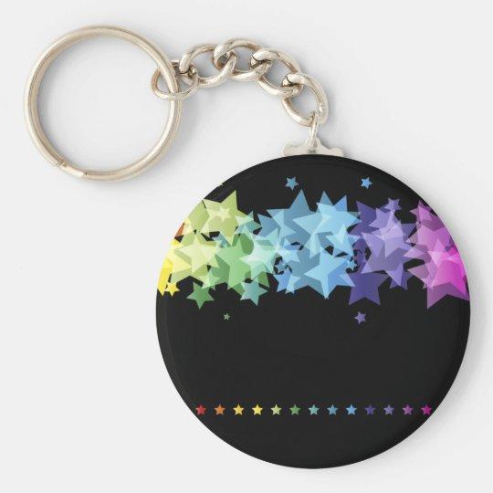 Colourful Rainbow  Stars Basic Round Button Key Ring