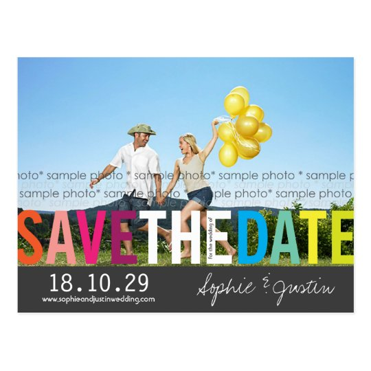 Colourful Rainbow Text Save The Date Photo Postcard