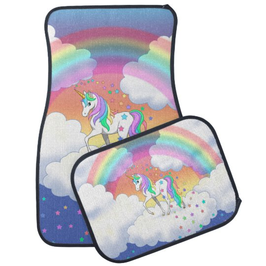 Colourful Rainbow Unicorn and Stars Car Mat