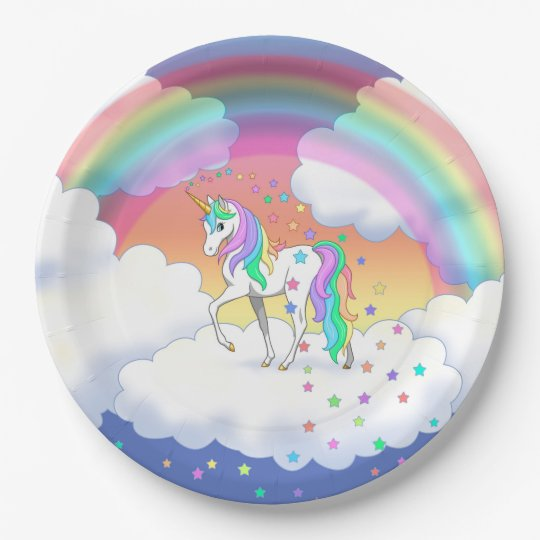 Colourful Rainbow Unicorn and Stars Paper Plate
