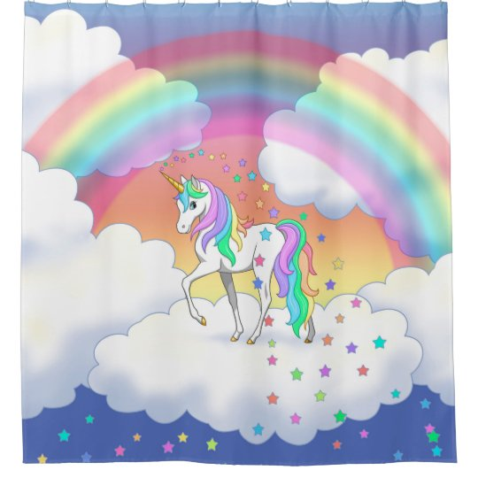 Colourful Rainbow Unicorn and Stars Shower Curtain
