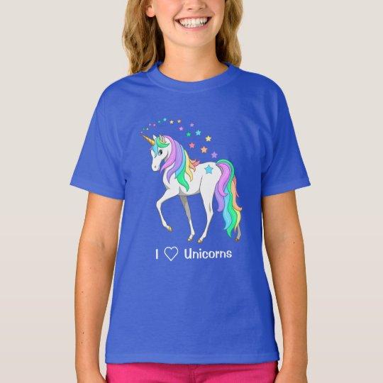 Colourful Rainbow Unicorn and Stars T-Shirt