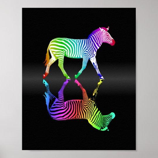 Colourful Rainbow Zebra Inversion Poster