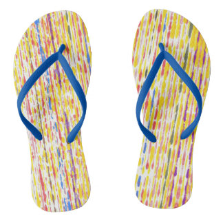 Colourful Raindrops Rainbow Stripes FlipFlops