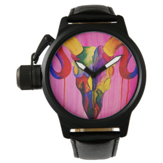 Colourful ram skull mens watch
