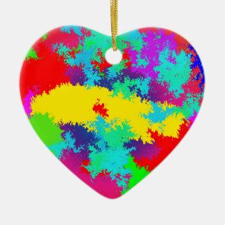 Colourful Random Trippy Pattern Ceramic Heart Decoration
