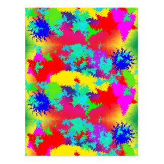Colourful Random Trippy Pattern Postcard