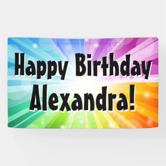 Colourful Rays Custom Birthday Party Banner