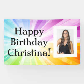 Colourful Rays Custom Photo Birthday Party Banner