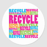 Colourful Recycle Round Stickers