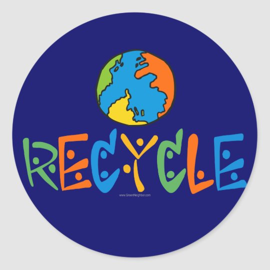Colourful Recycling Classic Round Sticker