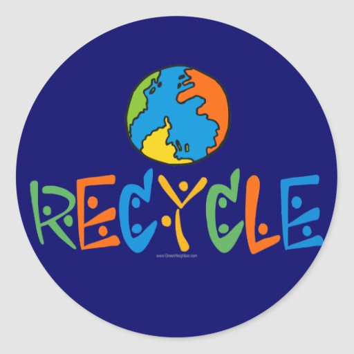 Colourful Recycling Round Sticker