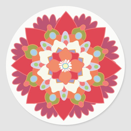 Colourful Red Floral Lotus Mandala Flower Sticker