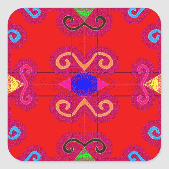 Colourful Red Geometric Mexican Style Envelope Square Sticker