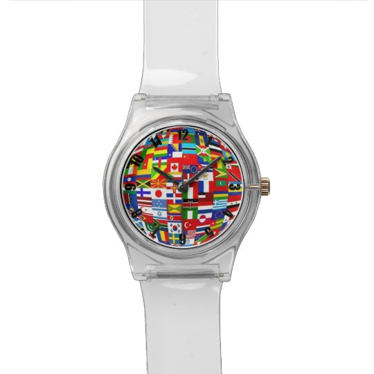 Colourful Red Green Blue World Flags Watch