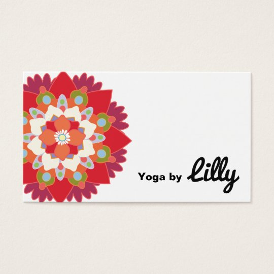 Colourful Red Lotus Flower Yoga Instructor Business Card