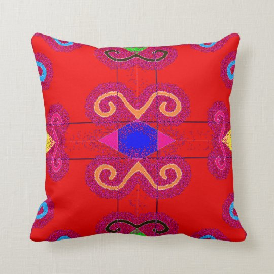 Colourful Red Mexican Style Tile Pillows