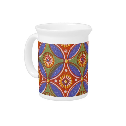 Colourful Red Rustic Circle Pattern Geometric Drink Pitchers