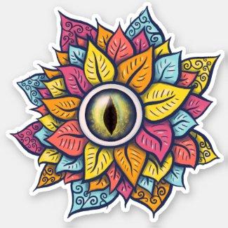 Colourful Reptile Eye Flower Fun Weird Surreal Art