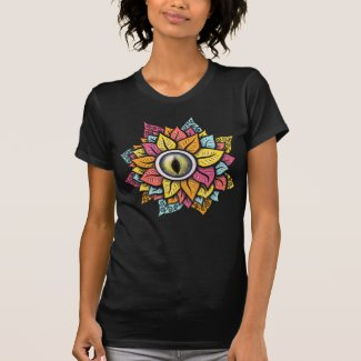 Colourful Reptile Eye Flower Fun Weird Surreal Art T-Shirt