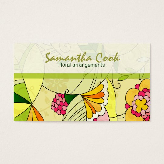 Colourful Retro Abstract Floral Collage 2 Business Card