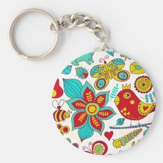 Colourful Retro Birds Flowers Pattern Basic Round Button Key Ring