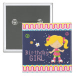 Colourful Retro Blonde Roller Skating Birthday 15 Cm Square Badge