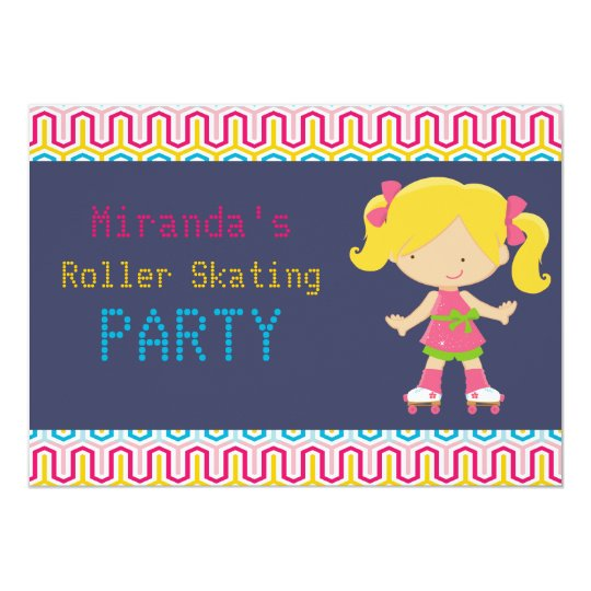 Colourful Retro Blonde Roller Skating Party Card