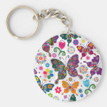 Colourful Retro Butterflies And Flowers Pattern Basic Round Button Key Ring